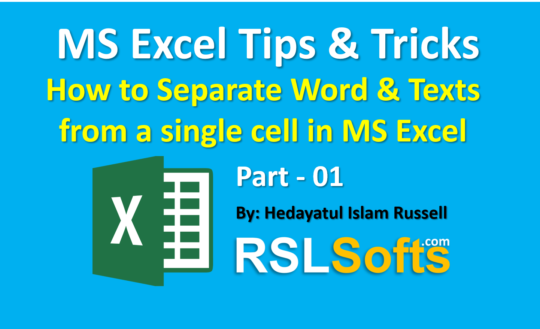How to Separate Word & Texts from a single cell in MS Excel-P1